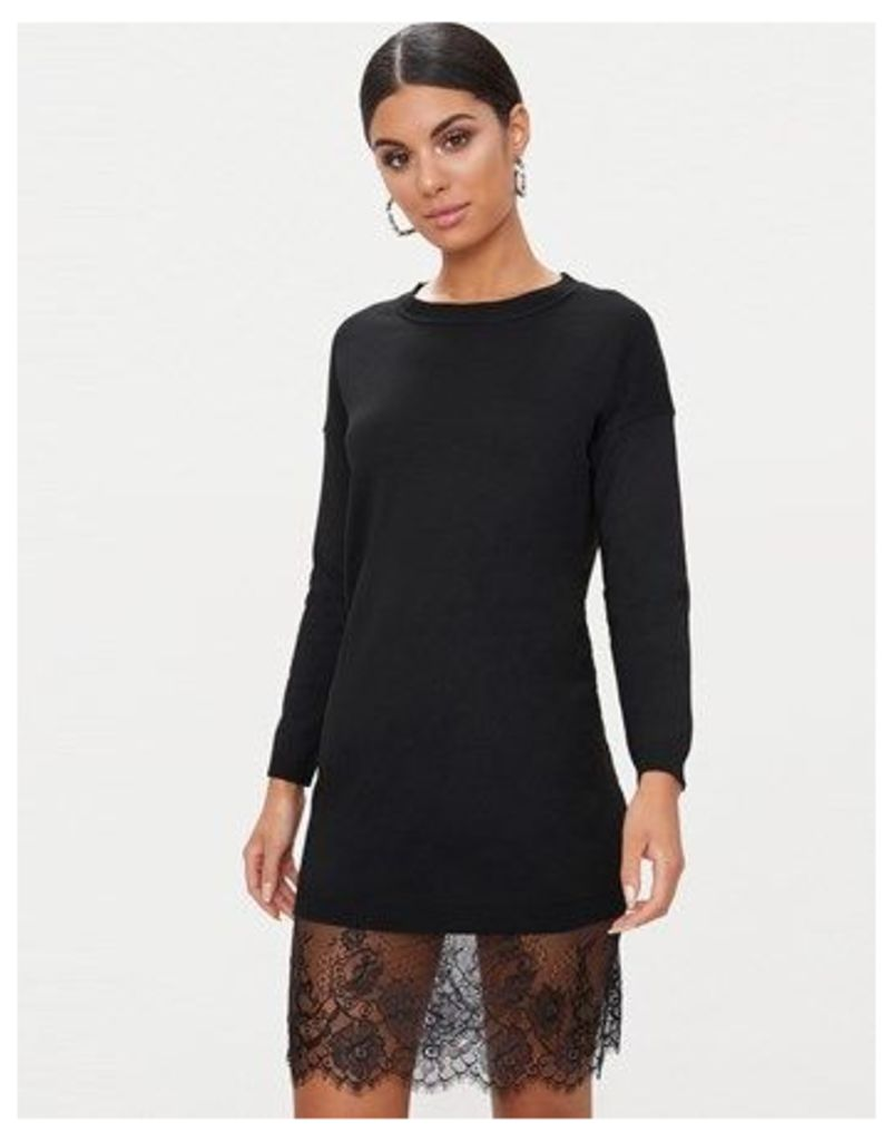 Prettylittlething Crew Neck Lace Trim Jumper Dress
