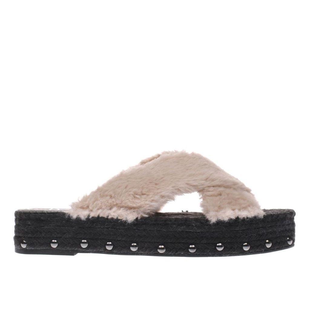 missguided pale pink faux fur cross strap sandals