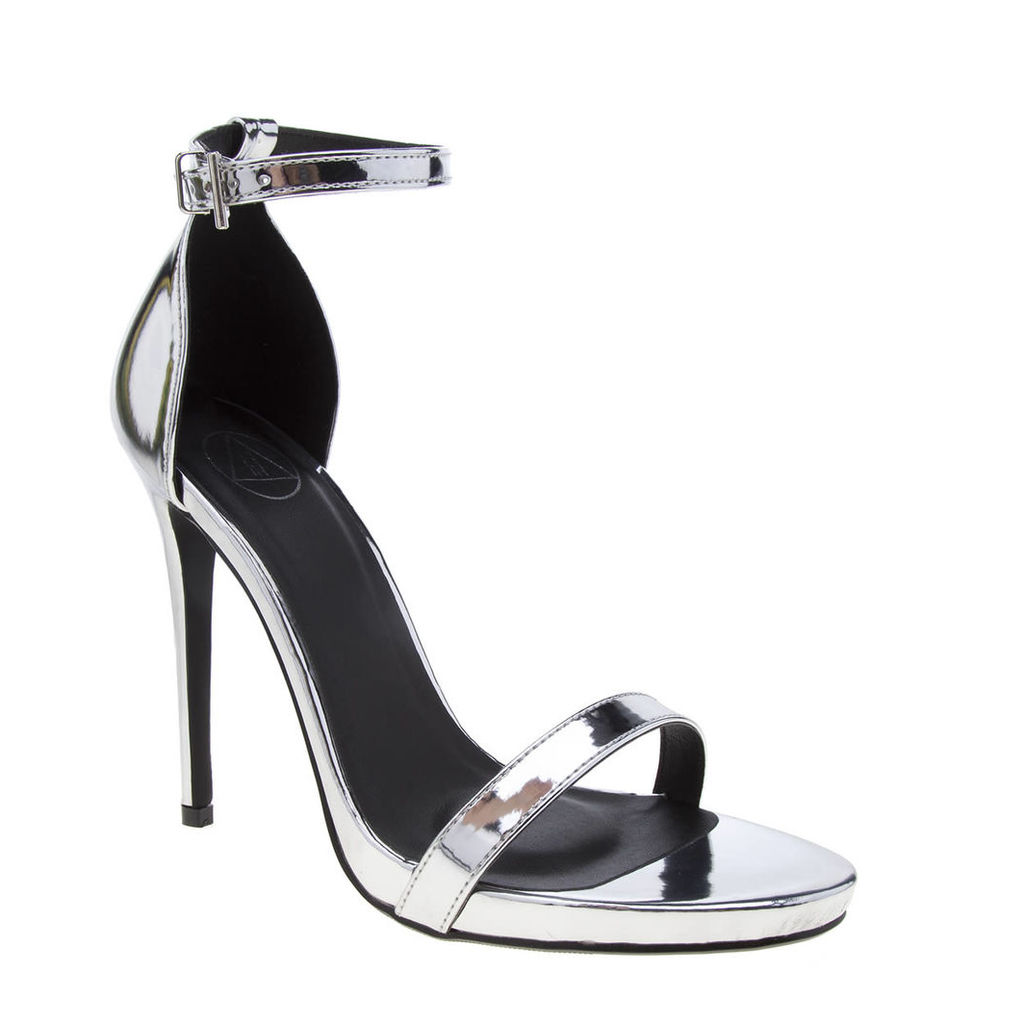 missguided silver pf barely there high heels