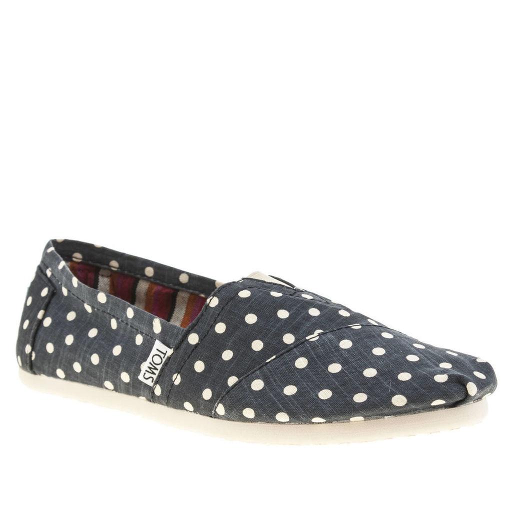 toms navy classic seasonal polka dot flat shoes