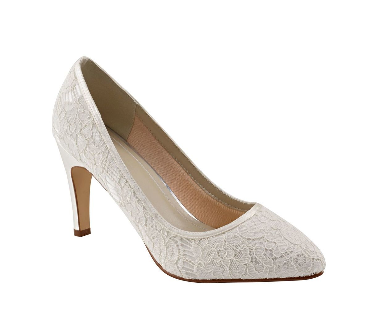 Rainbow Club Alexis Ivory Satin Court Shoe, White