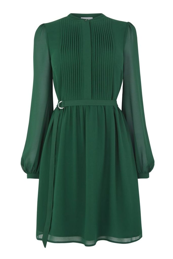 Warehouse Chiffon Shirt Dress, Dark Green
