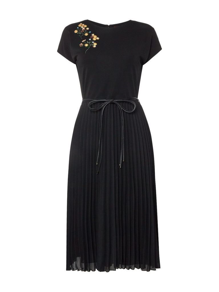 Max Mara Studio Starna embroidered dress with pleated skirt, Black