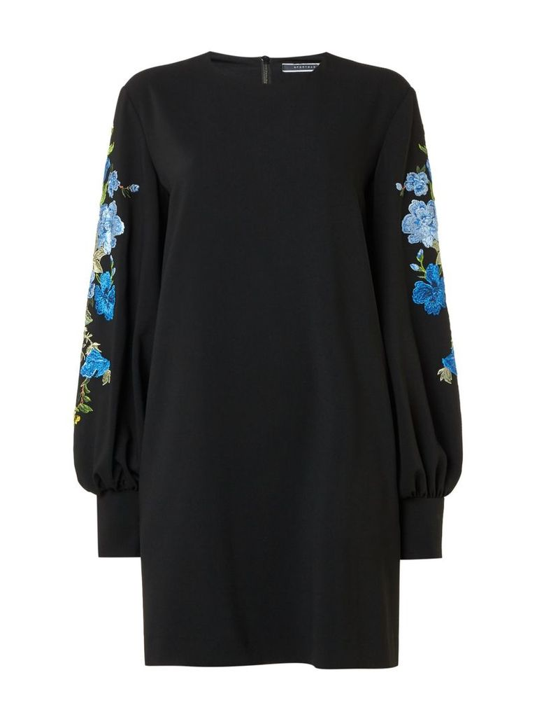 Sportmax Code Unione embellished floral sleeve jumper dress, Black
