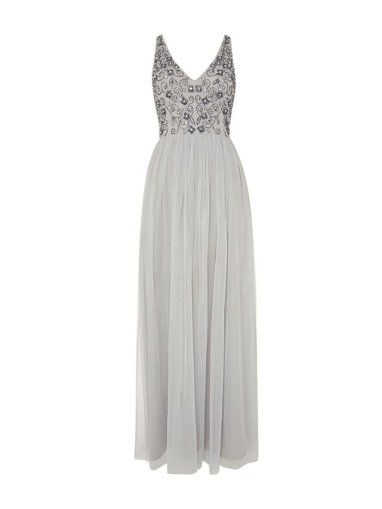 Lace and Beads V Neck Maxi, Grey