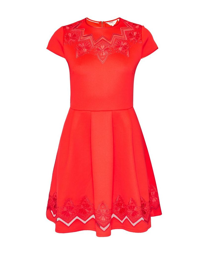 Ted Baker Cheskka Lace And Mesh Skater Dress, Red