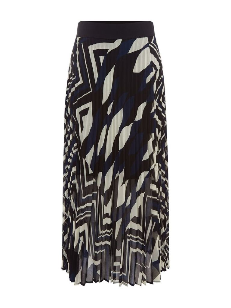 Marella Fiuggi abstract print pleated skirt, Black