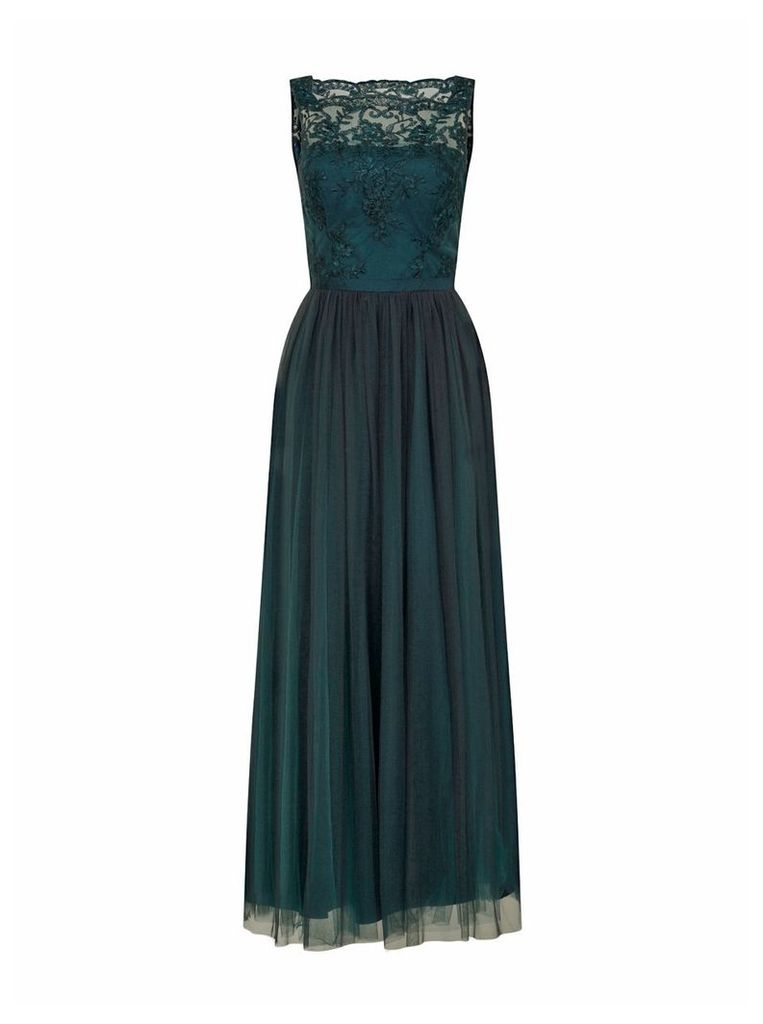 Chi Chi London Embroidered Bodice Maxi Dress, Green