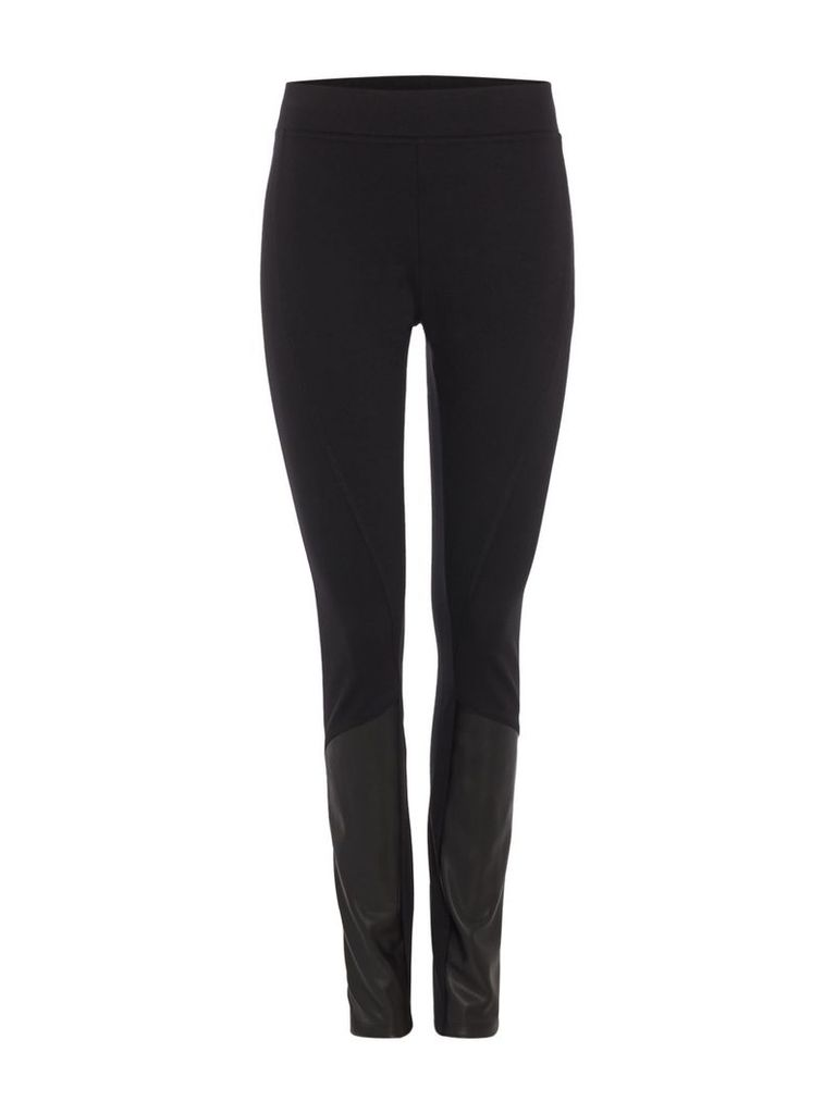 DKNY Leggings with leather trim, Black