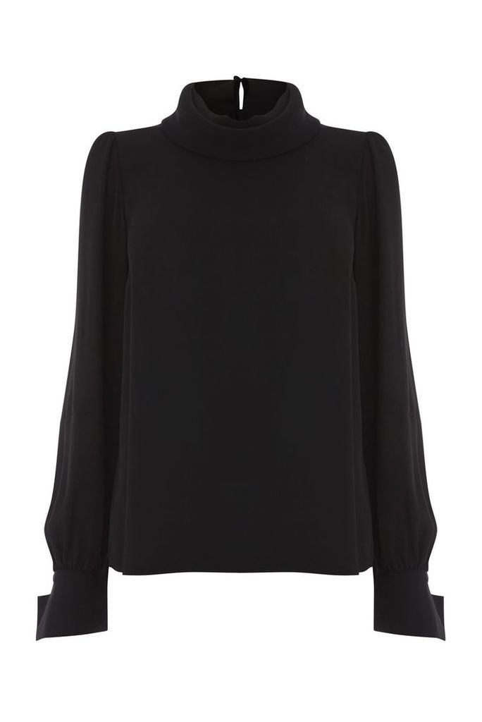 Warehouse Cowl Drape Top, Black