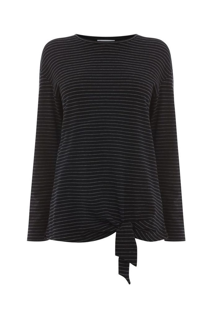 Warehouse Stripe Long Sleeve Tie Top, Black Stripe