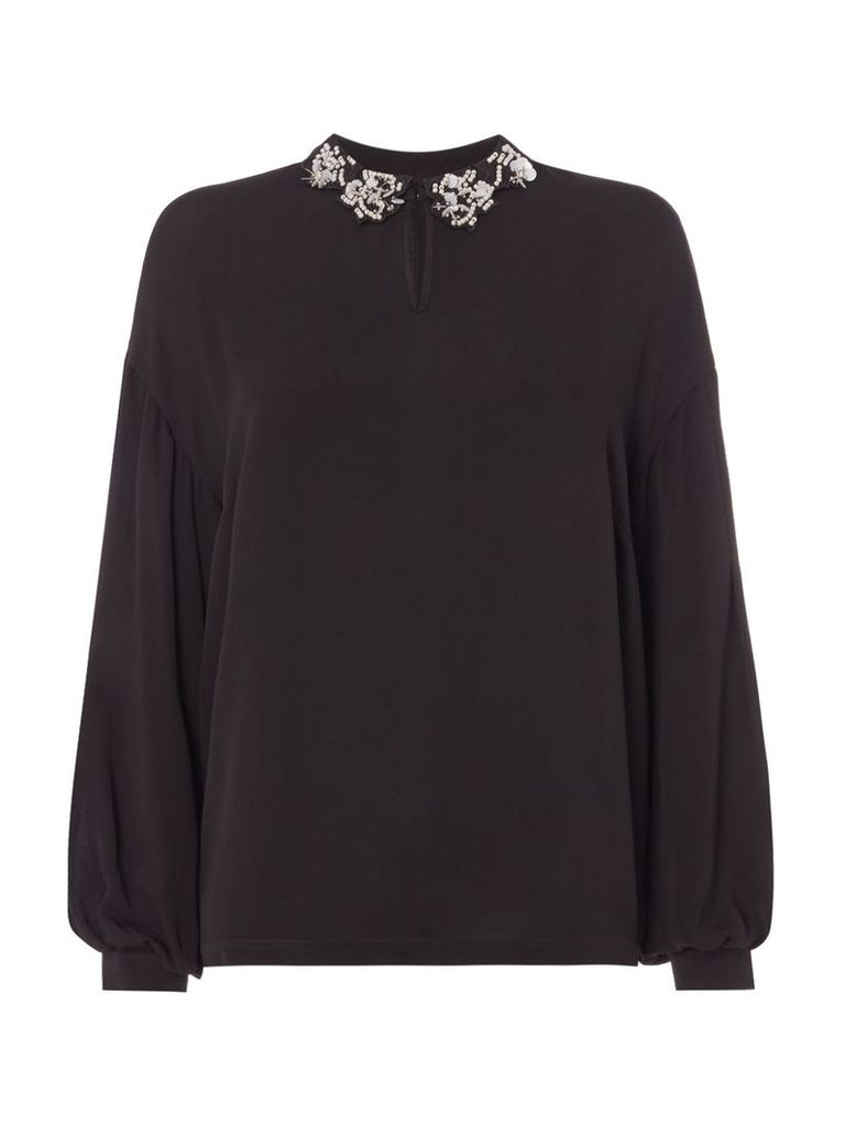 Biba Embellished collar pleat sleeve blouse, Black