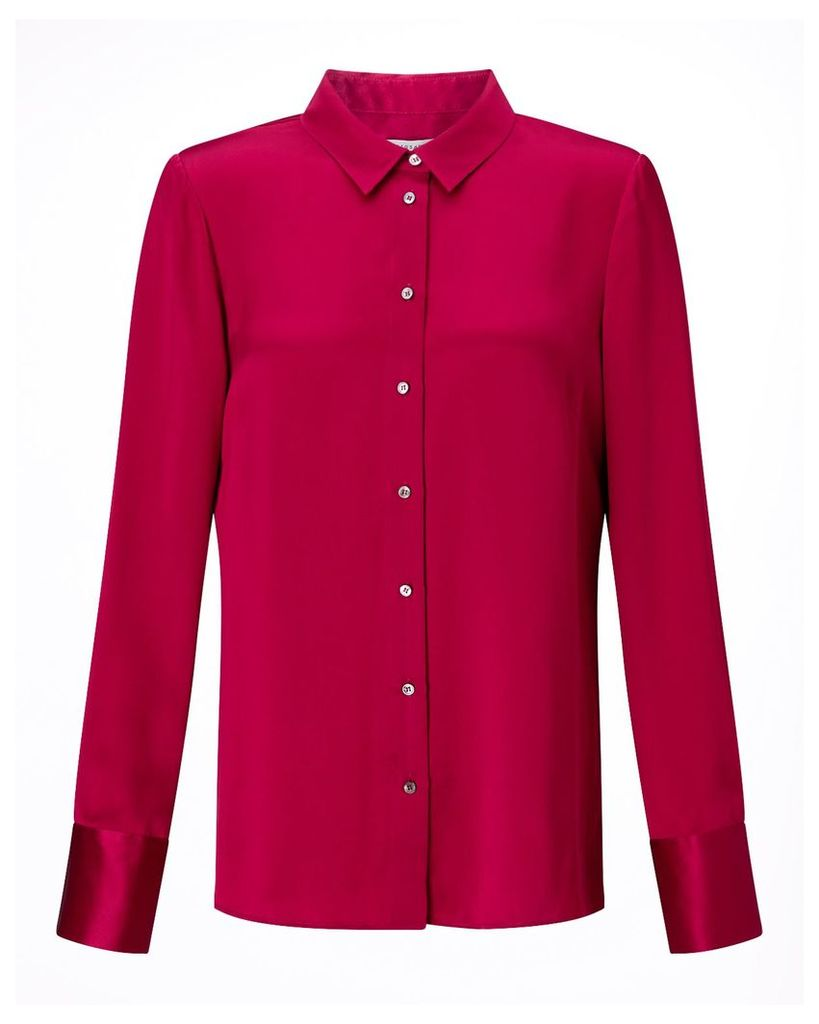 Jigsaw Silk Shirt, Fuchsia