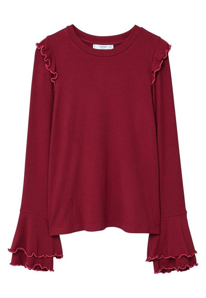Mango Ruffles T-Shirt, Red