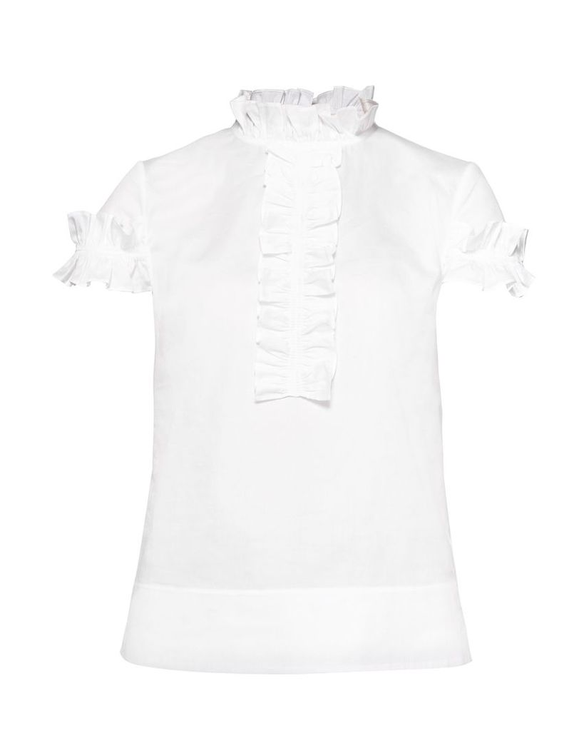 Ted Baker Saidii Frill Detail Cotton Blouse, White