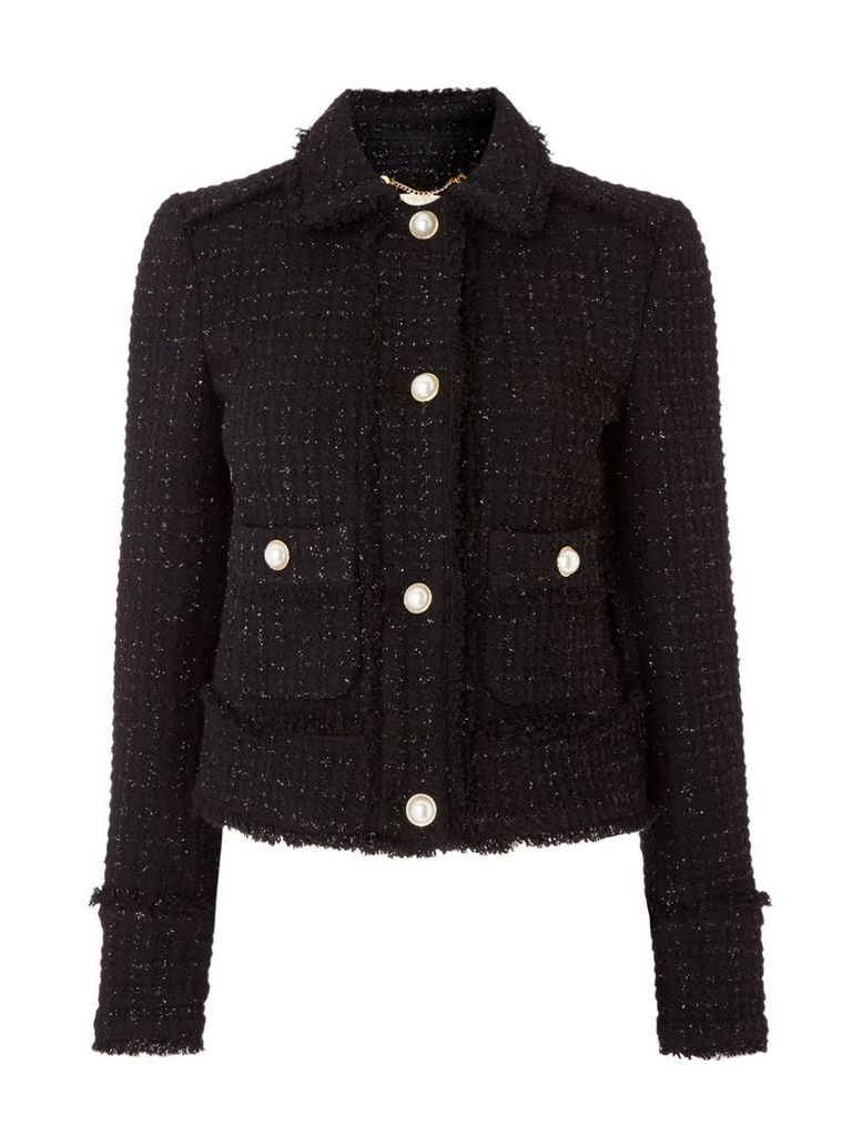 Michael Kors Two pocket fray tweed jacket, Black