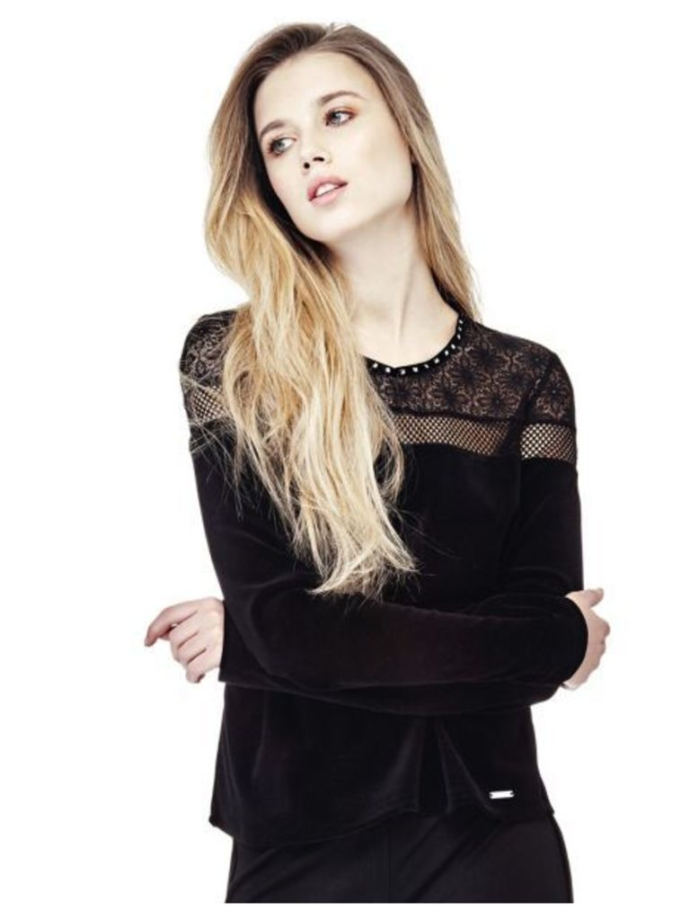 Guess Velvet Top With Lace Details