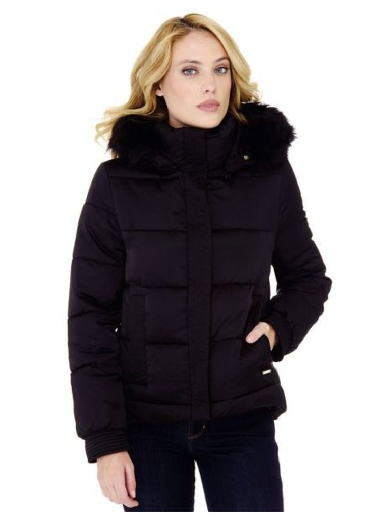 Guess Down Jacket With Faux Fur Hood