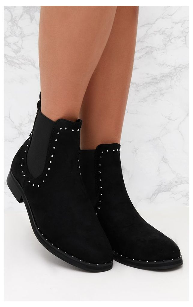 Black Microfibre Studded Chelsea Boot