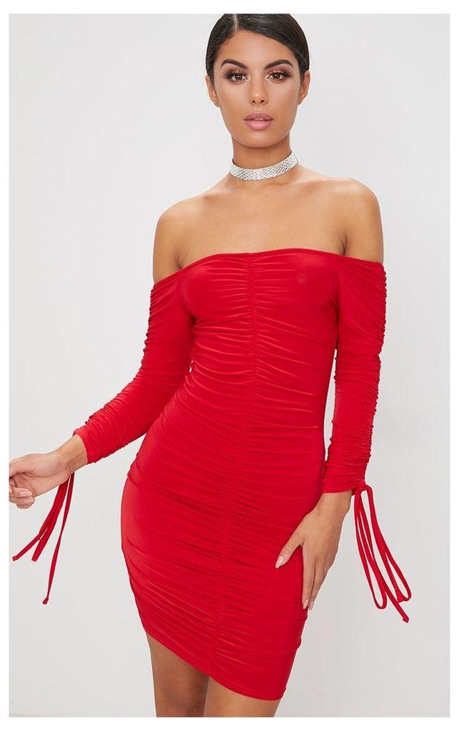 Red Slinky Ruched Bardot Bodycon Dress