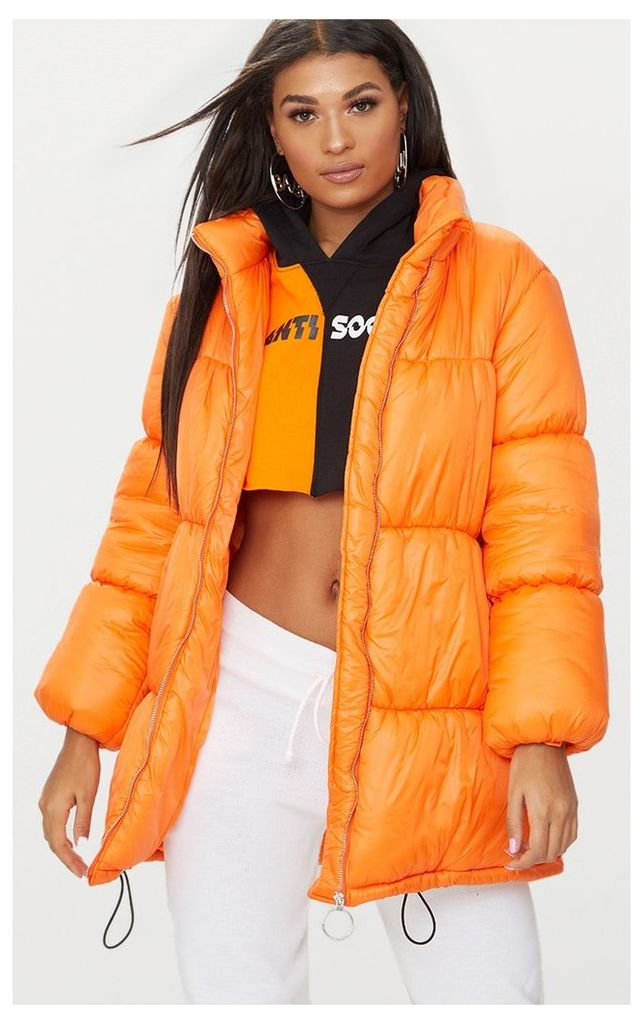 Orange Ring Pull Longline Puffer Jacket