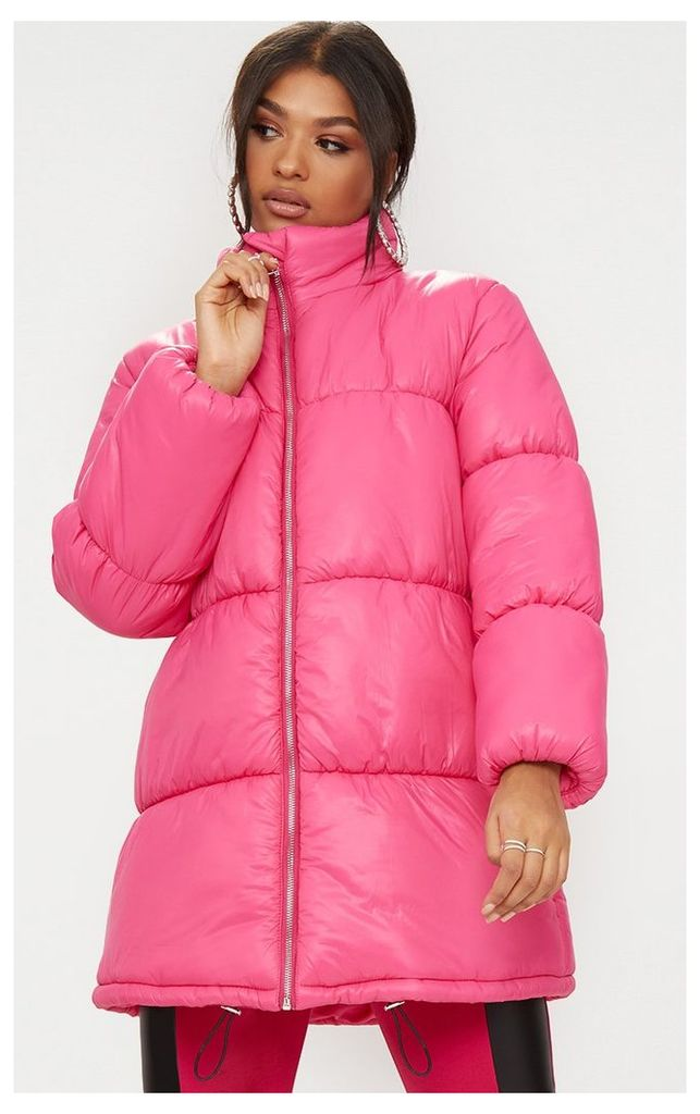 Bright Pink Ring Pull Longline Puffer Jacket