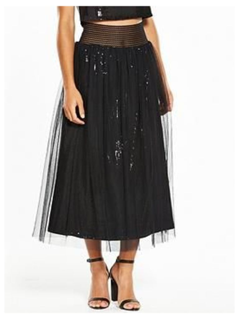 Little Mistress Petite Embellished Skirt - Black