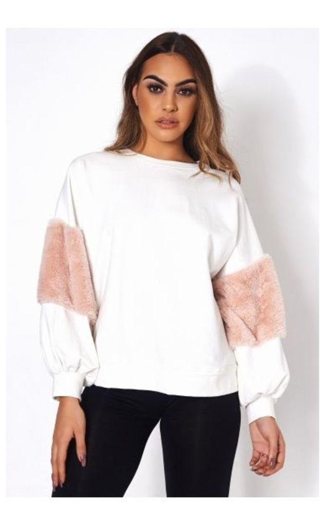 White Faux Fur Sweatshirt