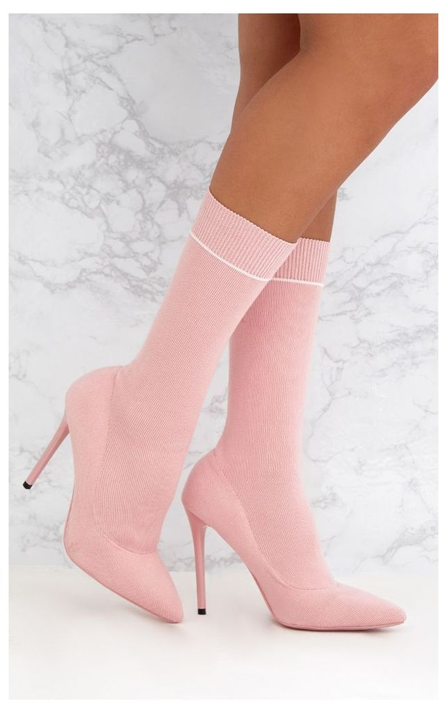 Pink Contrast Piping Knitted Pointy Sock Boots, Pink