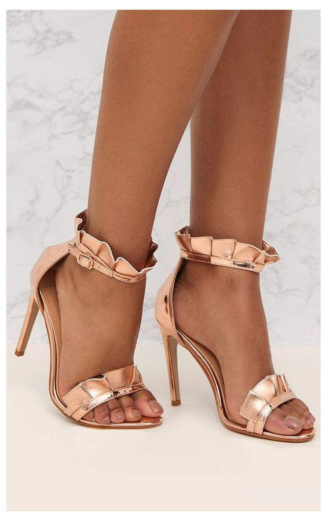 Rose Gold PU Frill Strap Heels, Pink