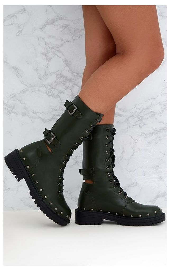 Khaki Chunky Hard Wear Lace Up Ankle Boots, Green