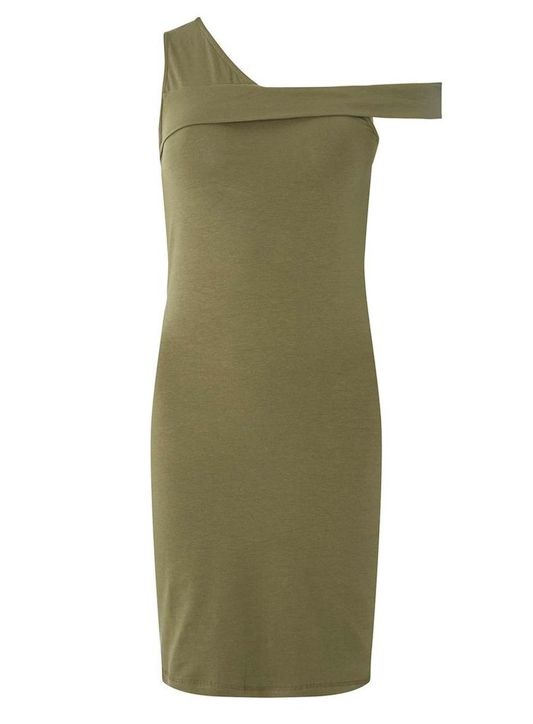 Womens **Noisy May Green One Shoulder Bodycon Dress- Green