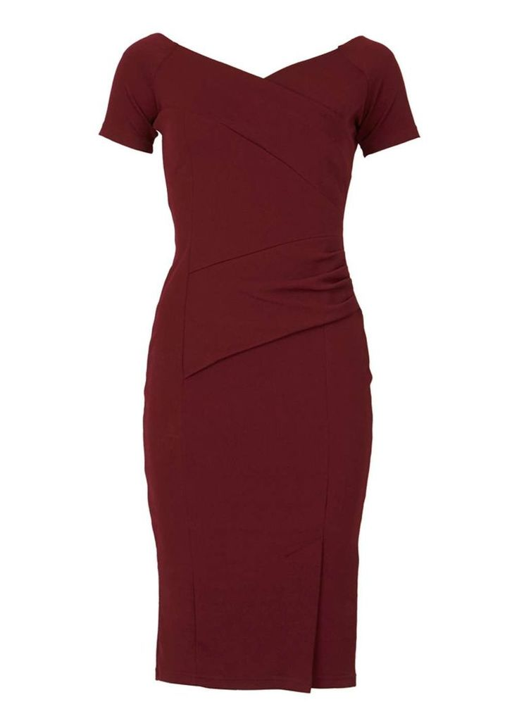 Womens *Feverfish Burgundy Crepe Bodycon Dress- Burgundy