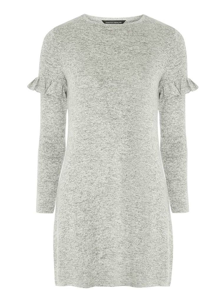 Womens Grey Marl Ruffle Shift Dress- Grey