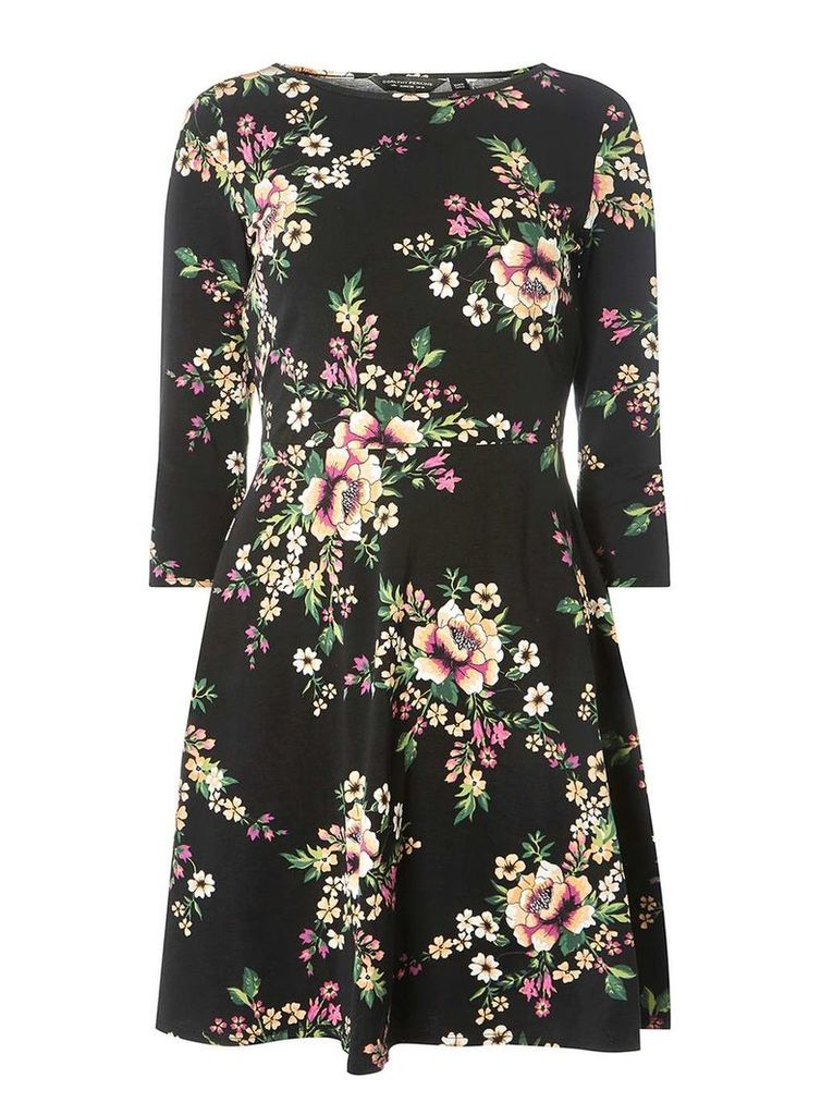 Womens Black Floral Print 3/4 Sleeve Fit and Flare Dress- Black