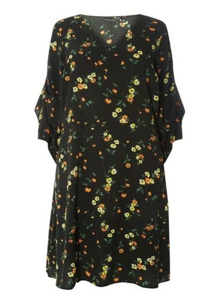 Womens DP Curve Plus Size Black Floral Print Tuck Sleeve Skater Dress- Black