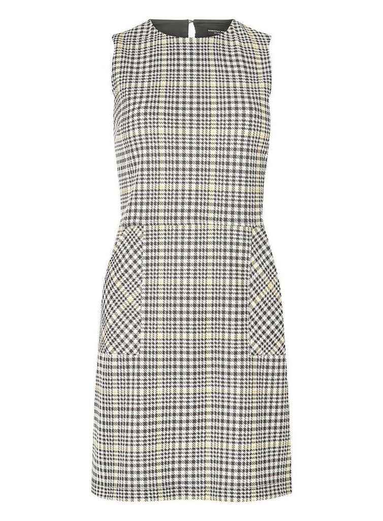Womens Black Checked Shift Dress- Black