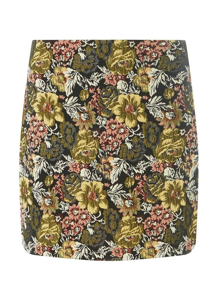 Womens Yellow Jacquard Mini Skirt- Multi Colour