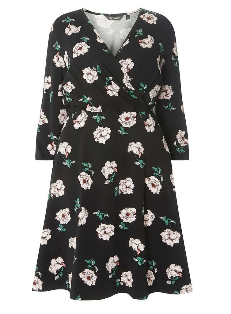 Womens DP Curve Plus Size Black Floral Print Fit and Flare Dress- Black