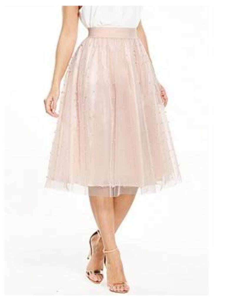 Little Mistress Petite Pearl Embellished Mesh Tulle Midi Skirt