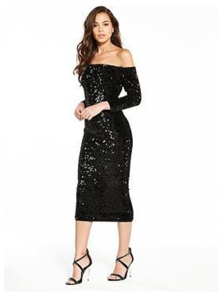 V By Very Sequin Bardot Bodycon Dress