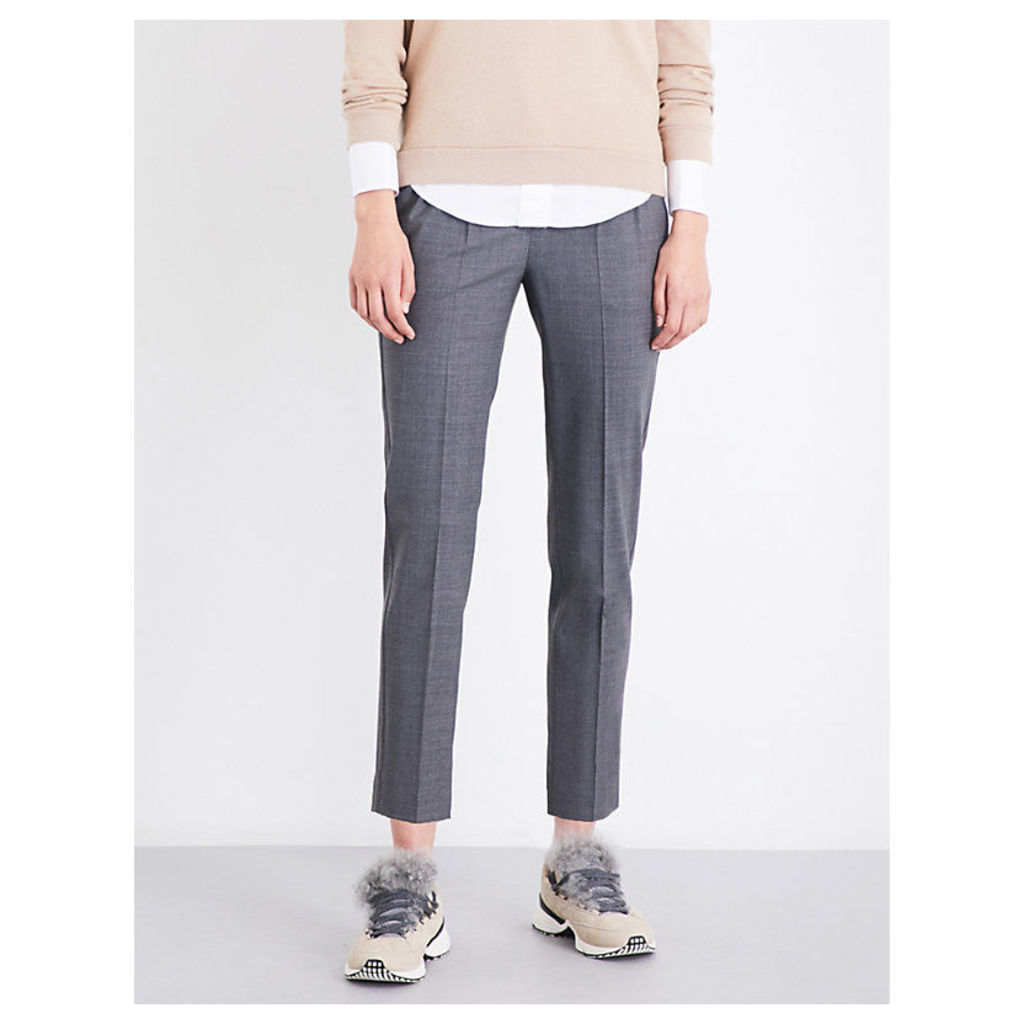 Chain-trimmed tapered high-rise virgin wool-blend trousers