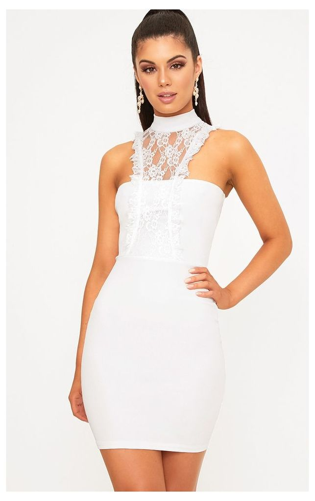 Jessalyn White Lace Overlay High Neck Bodycon Dress, White