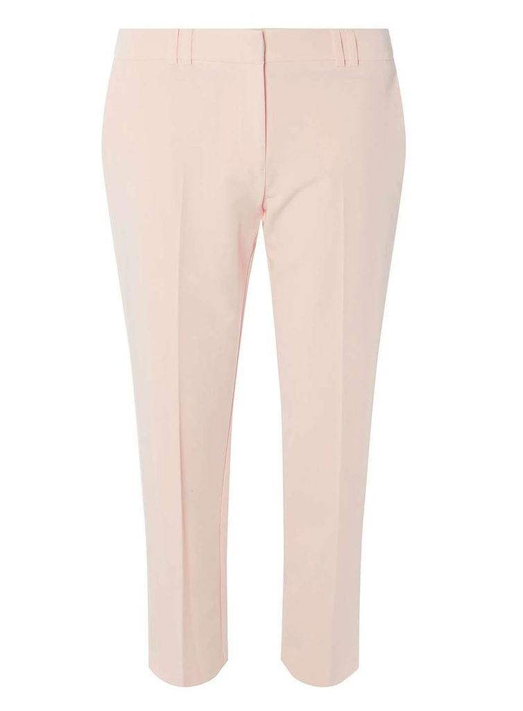 Womens Blush Slim Tailored Ankle Grazer Trousers- Pink