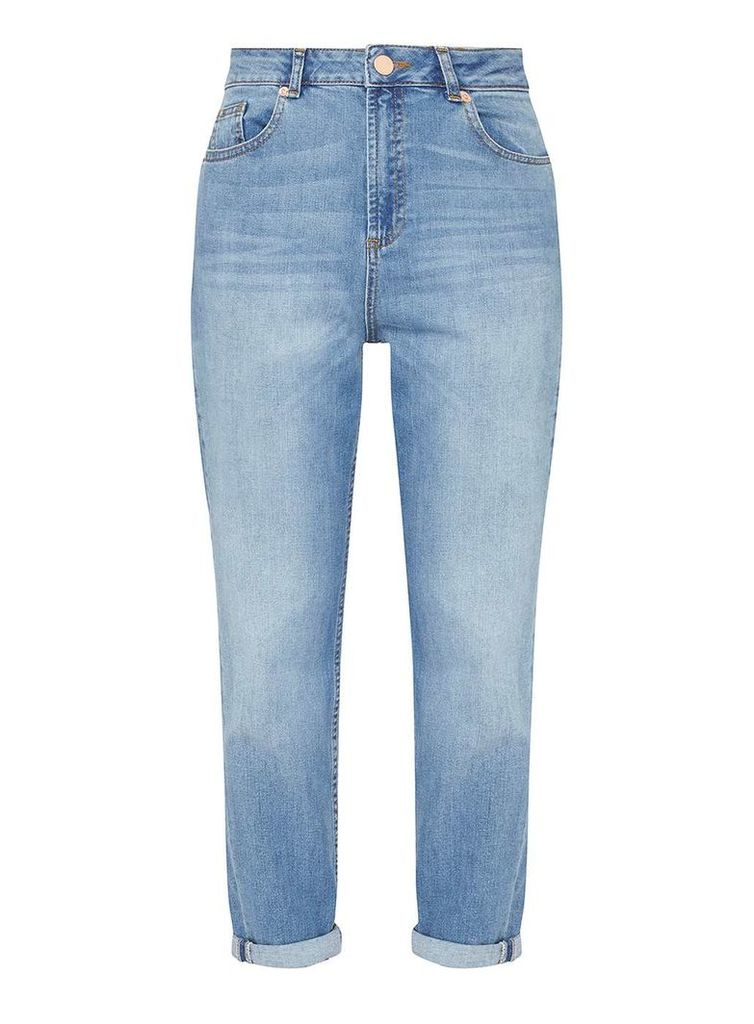 Womens Petite Mid Wash Mom Jeans- Blue