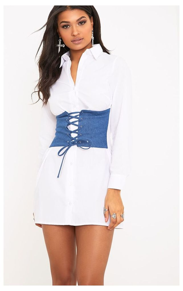 Willow White Denim Corset Lace Up Open Shirt Dress, White