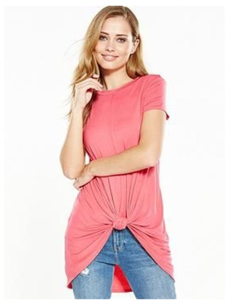 V By Very Knot Front Dip Hem T-Shirt