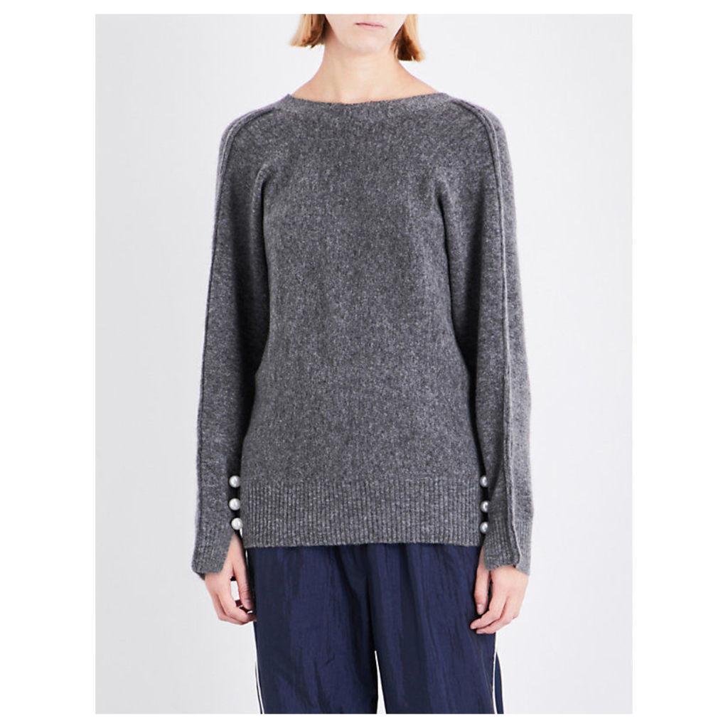3.1 Phillip Lim Ladies Grey Knitted Casual V-Reverse Sweatshirt
