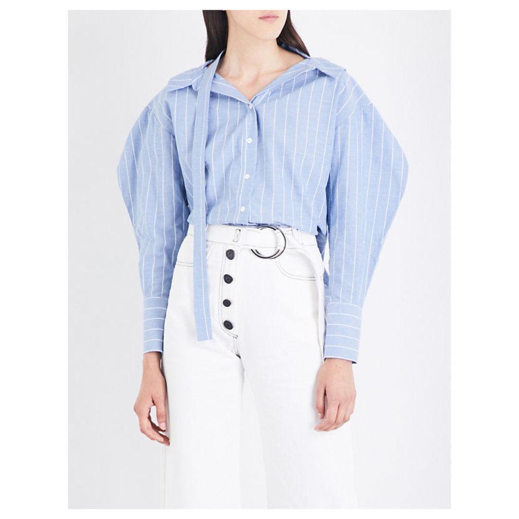 Rosa striped cotton and linen-blend shirt