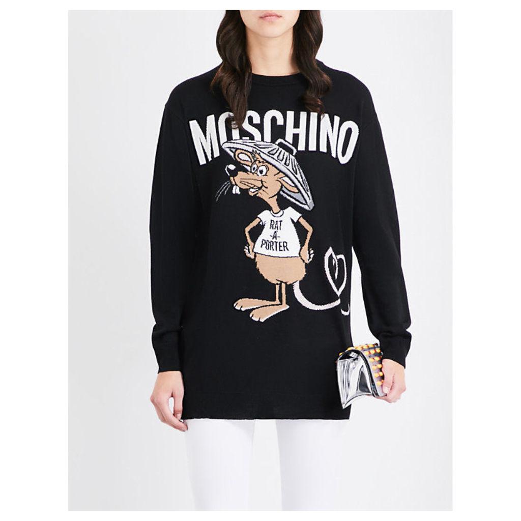 Moschino Rat-A-Porter longline wool jumper, Women's, Size: XS, Black